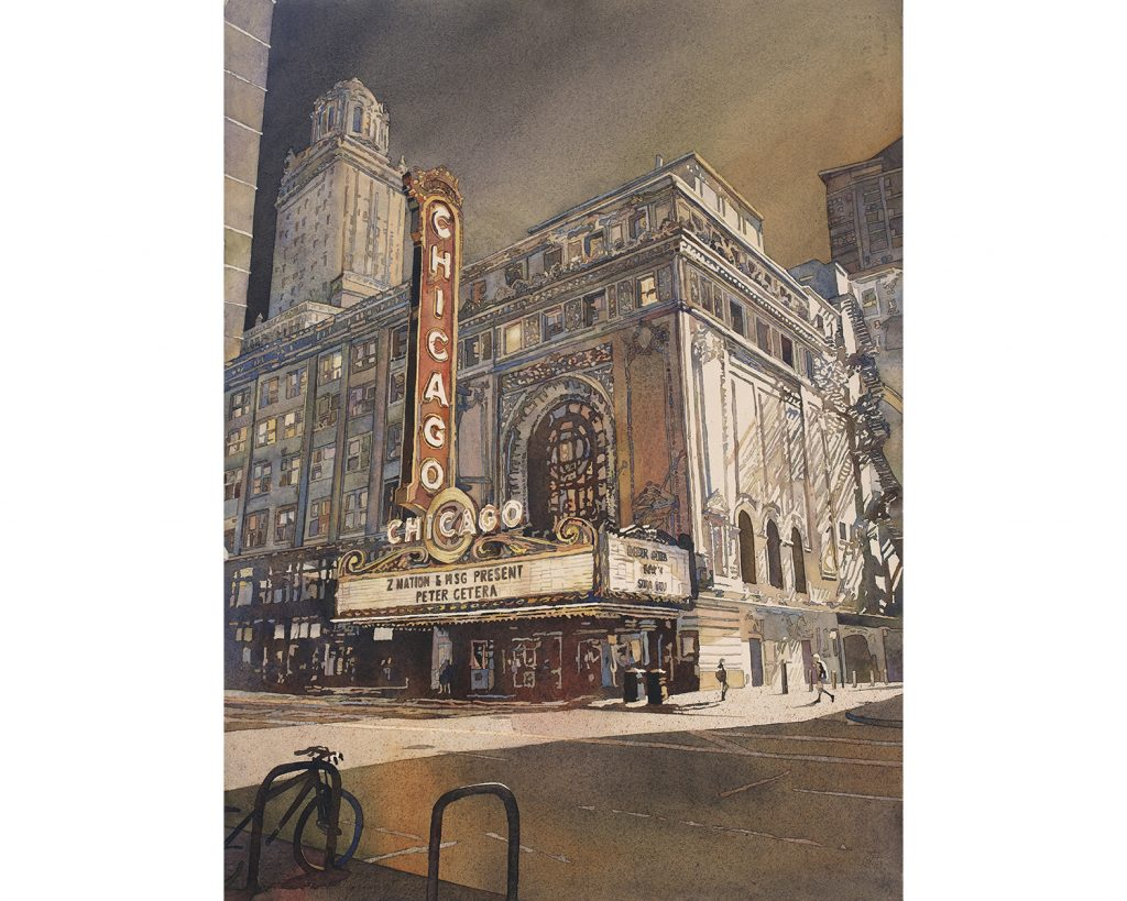 Colorful watercolor painting of exterior of Chicago Theatre in Chicago, IL.  Full sheet award winning watercolor painting