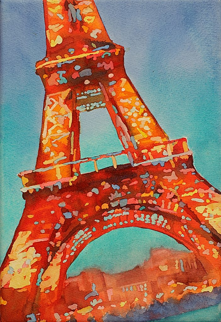 Watercolor painting of Eiffel Tower in Paris France