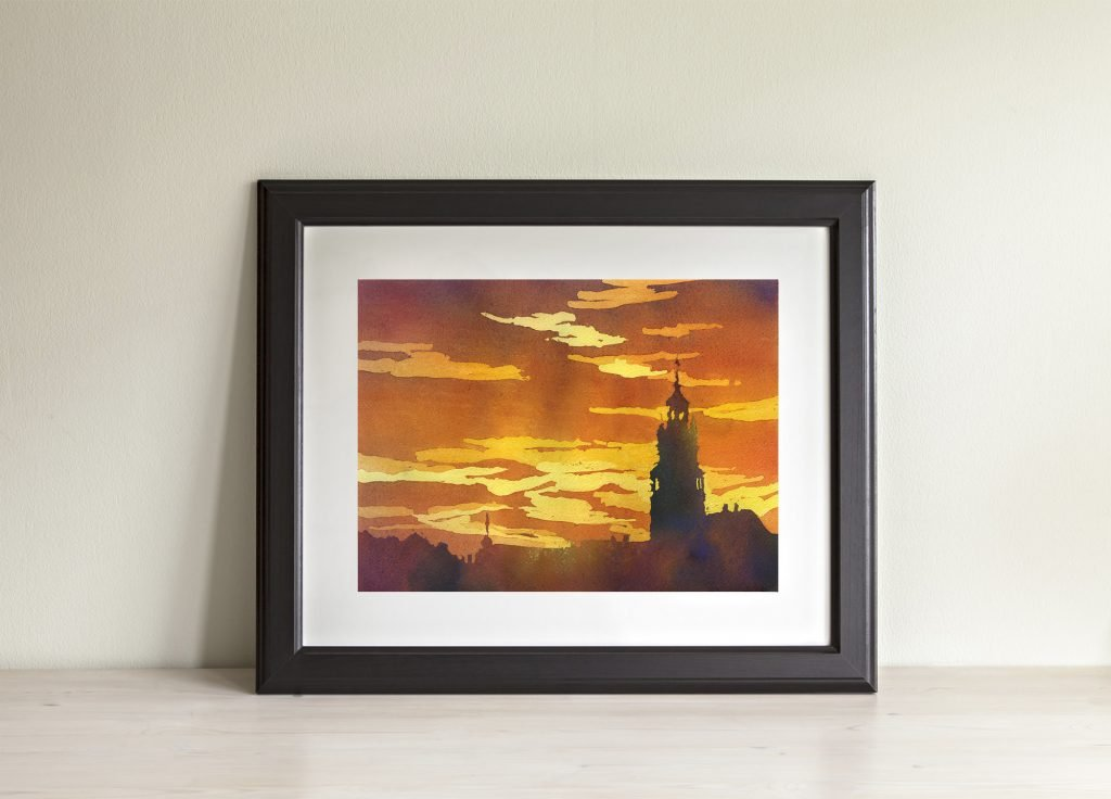 Watercolor painting of colorful sunset and church in the Czech Republic- Europe.  Small watercolor painting fine art techniques